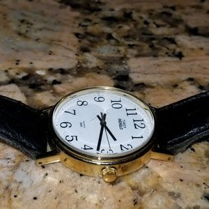 Timed indiglo with black leather band